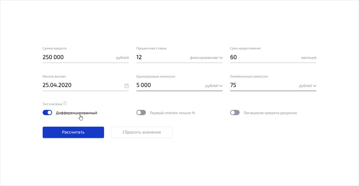 Калькулятор изменяемой ставки