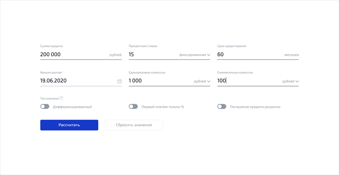 Кредитный калькулятор ВТБ